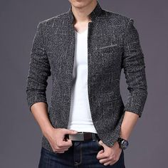 Men's One Button Blazer Suit Slim Fit Formal Business Jacket Coat Top Outerwear is part of Mens fashion cardigan - Material Cotton Blend Reply Within 24 Hours High Fashion Men, Mens Fashion Blazer, New Mens Fashion, Suit Fashion, Formal Men Outfit, Dress Casual, Blazer Outfits, Blazer Suit, Mens Style Guide