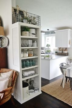 DIY Kitchen Shelving using Shutters/ Liz Marie Blog  Painted with Maison Blanche Ivory for this piece.  Go to craftsmandrive.com to see how to build your own.