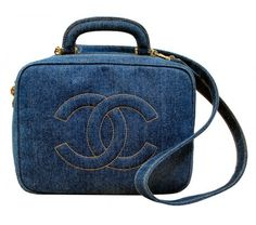 Chanel Denim Cosmetic Bag + Strap