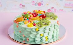 Download wallpapers Happy Birthday, cake, sweets, pastries, fruit cake, birthday cake