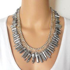 29ef00c07edcf0 Titanium Crystal Point Statement Necklace Metallic by Rocktopolis Crystal  Jewelry, Pearl Jewelry, Jewelry Art