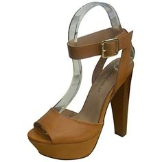 Breckelles Womens Bonnie24 Natural Cute Open Toe Stiletto Platform Sandals 11 -- You can get additional details at the image link.