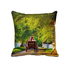 Woodland Carriage Ride in Colonial Williamsburg - a timeless piece of Americana in a decorative pillow!