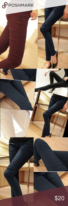 """Elastic Casual Pleated  Leggings Elastic Casual Pleated  Leggings   Material: Cotton Blend Decoration: Pockets, Pleated. NWOT Size fits SM- MED Waist 24-30"""" Hip 27-39""""  front crotch 10"""" Length 35"""" Available colors Dark blue-RED WINE-BLACK   🛍BUNDLE & SAVE 15%🛍 ✨TOP RATED SELLER✨ 📦SAME DAY OR NEXT DAY SHIPPING!📦 ❤REASONABLE OFFERS WELCOME❤ ❌NO TRADES OR PAYPAL❌ Pants"""