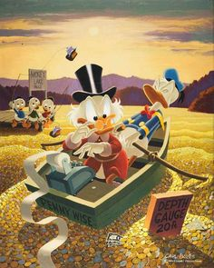 Scrooge Mc Duck a classic illustration by Carl Barks Mickey Minnie Mouse, Disney Mickey, Disney Art, Disney Movies, Disney Pixar, Disney Posters, Disney Cartoons, Famous Cartoons, Dagobert Duck