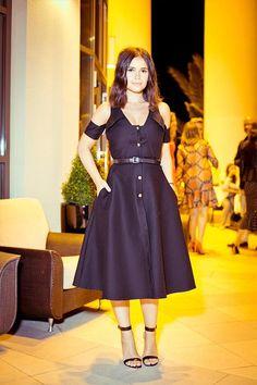 Mira Duma black off shoulder dress