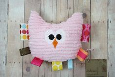 Teether Tag Toy Rattle Girl's Plush Owl Baby Toy and by JuteBaby, $22.00