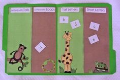 The kids sort lowercase letters by their features--short, tall, loops and tails. Some letters can be sorted more than one way. For example, a is short and has a loop; p has a loop and a tail. It's fun to find all the letters that can fit into 2 different categories. It's math and literacy all rolled together!