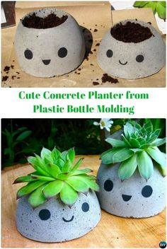 Cute and Small DIY Concrete Planter with Smilem.DIY Concrete Planter Projects for your porch, patio and doorway or even table top: to decorate our homes and garden with green plants and DIY Backyard Concrete Projects to make your outdoor s Diy Concrete Planters, Concrete Crafts, Concrete Garden, Diy Planters, Planter Ideas, Succulent Planters, Planter Garden, Balcony Garden, Succulents Garden