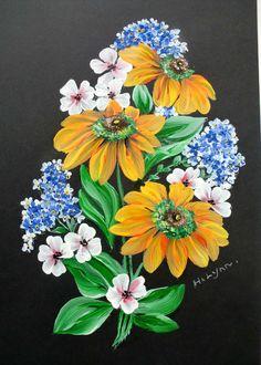 Flowers on black. Painted by Hazel Lynn.