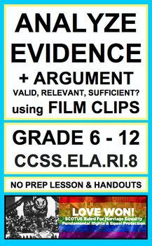 Analyze Relevant Evidence & Argument with Film: NO PREP. Use short film clips to evaluate argument and specific claims, assessing valid, relevant and sufficient evidence and reasoning in secondary reading informational text. Introduce, Practice & Assess: CCSS.ELA.RI.8 (GRADE 8 - 12)