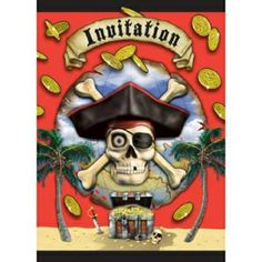 12 - Pirate Party Bounty Invitations. Pack of 8 Invitations - Pack of 8.  Design may vary due to availability.