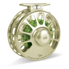 Tibor Signature Series Fly Reel Satin Gold with Lime Hub
