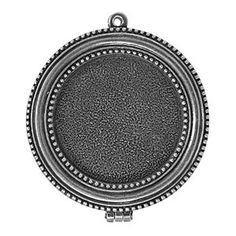 Antique Silver Plated Pewter Small Beaded Bezel Locket by Nunn Design | Fusion Beads