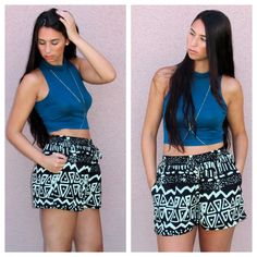 #Fashion post on Brittanymichele.net! #Bodychain #Croptop #Tribal #Highwaisted shorts