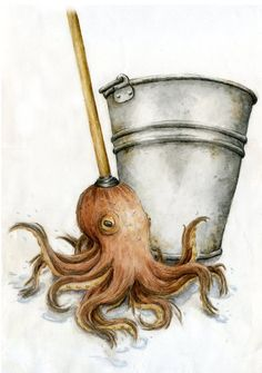 Cleaning octopus by ~atlantisdesetoiles on deviantART