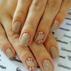 Most Popular Wedding Colors Summer Romantic Beautiful Ideas Cute Nail Art, Nail Art Diy, Diy Nails, Cute Nails, Pretty Nails, Short Nail Manicure, Nail Nail, Romantic Nails, Accent Nails
