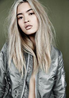 Marga@premium ©Eric Matheron Balay, Wad Magazine #kaki #beauty #fashion #blond #asian #highheel #sexy #bomber #jacket #asiatic