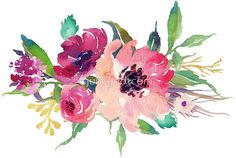Watercolor Wild Flower Pink Bouquet • Buy this artwork on apparel, stickers, phone cases, and more.