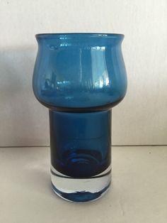 VTG Small Riihimaki Finland Blue Vase Scandinavian Glass Mid Century Modern by post50modern on Etsy