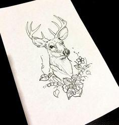 "Ana Maturana auf Instagram: ""Previous tattoo drawing⠀ _________________ ⠀ #anamaturana #tatuaje #flores #desing #deer #lines #black #ink #drawing #dibujo #plants…"" Tattoo Sketches, Tattoo Drawings, Art Drawings, Harry Potter Tattoos, Harry Potter Art, Doe Tattoo, Deer Sketch, Deer Drawing, Deer Illustration"