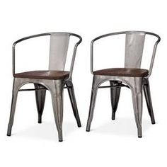 Carlisle High Back Metal Dining Chair Set of 2 Tar in