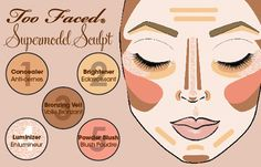 How to sculpt your face with makeup. (Thanks @Too Faced Cosmetics!)