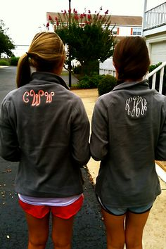 Monogrammed pullovers