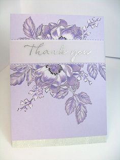 Altenew Beautiful Day stamps on lilac card with added white highlights. PTI sentiment heat embossed in silver glitter on vellum.
