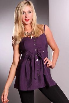 Purple Button Up Pintuck Drawstring Lace Back Top