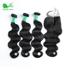 We are on Sale Today Eayon Hair Brazilian Virgin Hair With Closure Human Hair Extensions Brazilian body Wave With Closure Hair Bundles US $81.86