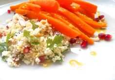 Glazed carrots with couscous (used preserved oranges)
