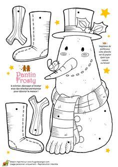 Coloriage et activités Noël tendresse, pantin Frosty le bonhomme de neige - Hugolescargot.com