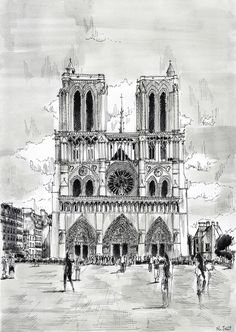 "Signed print - ""Notre-Dame"" - Paris. Black ink and watercolor on paper. By Nicolas Jolly."