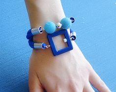 Gray statement bracelet Gray fashion bracelet by DenDesignjewels