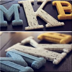yarn wrapped DIY letters.