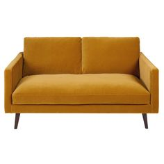 Mustard yellow 2-seater velvet sofa Kant
