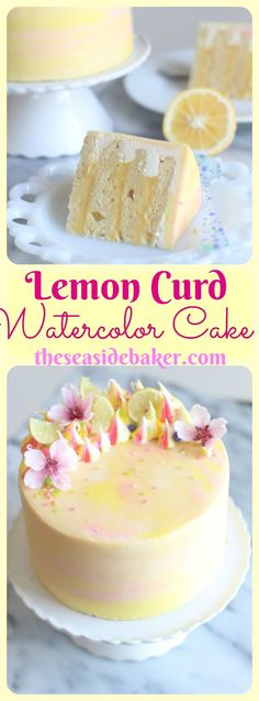 Delicious lemon cake filled with fresh lemon curd and frosted with pink, yellow, and white watercolor style frosting. Perfect for Spring, Easter, and Mother's Day!
