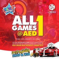 What are you waiting for? Play now here in iMall's Game District. All games at AED1 only! Promo until January 5, 2017. Shop & Win a brand new car in iMall! Shop worth AED200 and get a raffle coupon entry for a chance to win a brand new Red Chevrolet Camaro. Grand Raffle Draw will be on January 5, 2017. Hurry! Shop now. #iMalluae