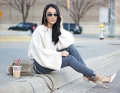 The cropped wide sleeve sweater