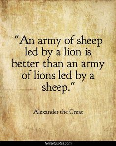 An army of sheep led by a lion is better than an army of lions led by a sheep.