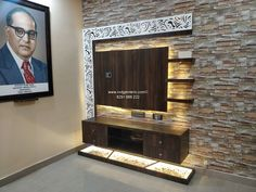 Living Room Tv Unit with Portrait of Dr. Babasaheb Ambedkar unit wallpaper TV Cabinet with Stone Finish wallpaper Modern Tv Room, Modern Tv Wall Units, Modern Tv Unit Designs, Living Room Tv Unit Designs, Tv Unit Decor, Tv Wall Decor, Lcd Wall Design, Ceiling Design, Living Room Wall Wallpaper
