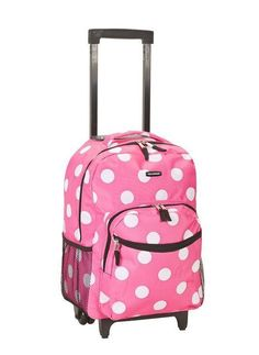 23d421bb3144 eBay  Sponsored Backpack Bag School Girls Pink Polka Dot Print Luggage  Rolling Travel Design New