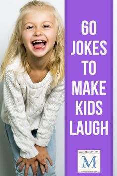 60 Jokes for Kids to Make them Laugh. Want to see your kids crack up? This is the Web's best list of rapid-fire, eye-rolling, giggle-inducing jokes for kids (and parents! Best Kid Jokes, Funny Jokes For Kids, Funny Pictures For Kids, Hilarious Jokes, Funny Riddles, Jokes And Riddles, Fun Questions For Kids, Kids Laughing, Thing 1