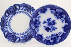 antique flow blue china plates...