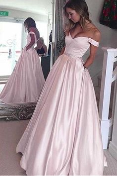 Evening Dress A-Line, Cute Prom Dress, Evening Dress Pink, Prom Dress Long, Prom Dress Ball Gown Prom Dresses 2019 Prom Dresses With Pockets, Prom Dresses For Teens, A Line Prom Dresses, Formal Dresses For Women, Cheap Prom Dresses, Satin Dresses, Evening Dresses, Formal Gowns, Long Dresses