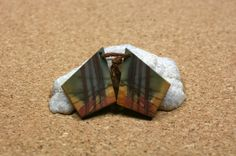 Red Creek Jasper Earring Pair  Red Yellow and Green by ABOSBeads