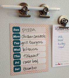 """Dry-erase, magnetic, cute. This decorative magnet actually can change your life. By being able to see your weekly schedule front and center on the fridge (or wherever you decide to put it), you can be better at managing daily cooking and meal planning.  Do yourself a favor and buy this calendar now. Your life needs it, and when's the last time you bought your life a treat?  4.25 x 5.5"""" magnetic dry erase vinyl   Weekly Meal Planning Dry Erase Magnet by RichardCreative on Etsy, $4.95"""