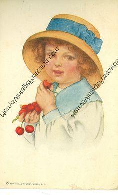 Grace Wiederseim Drayton Unsigned Little Girl Eating Cherries 1913 SA 726   eBay