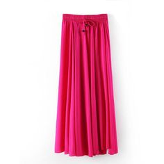 Fuchsia Flirty Drawstring Waist Maxi Skirt ($20) ❤ liked on Polyvore featuring skirts, fuchsia, pink skirt, ankle length skirt, floor length skirt, pink maxi skirt and elastic waist skirt
